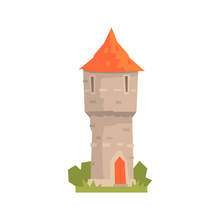 Old Stone Tower With Red Roof, Ancient Architecture Building Vector Illustration