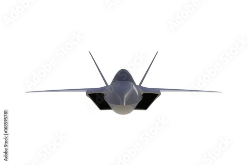 Front view of F22, american military fighter plane on white
