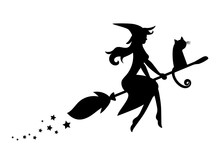 Black Silhouette Of A Witch Fl...