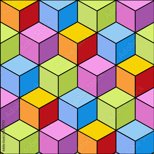 Colorful Abstract Tiles 3d Pattern Design