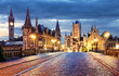 canvas print picture - Ghent, Belgium during night, Gent old town