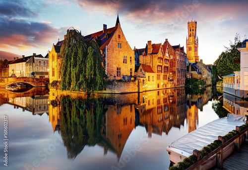 Printed kitchen splashbacks Bridges Belgium - Brugge, Rozenhoedkaai with Perez de Malvenda house and Belfort van Brugge at sunset