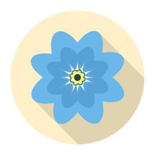 Round Blue Flower Icon On A Ye...