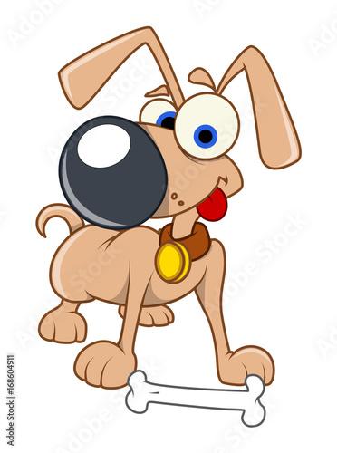 Papiers peints Chambre bébé Funny Dog with Bone Vector