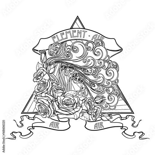 Astrology Symbol Air Element Decorative Vignette With
