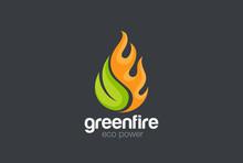 Eco Green Alternative Energy Logo Vector Leaf Fire Flame Droplet