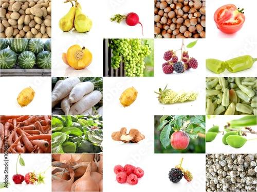 Zdjęcie XXL kolaż różnych owoców i warzyw