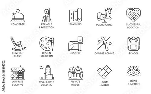 Fotografía  Urban infrastructure outline pictograph set