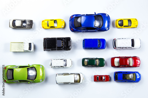 Top View On Colorful Car Toys On White Background Buy This Stock