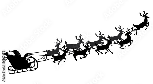 Obraz Santa flying in a sleigh with reindeer. Vector illustration. Isolated object. Black silhouette. Christmas. - fototapety do salonu