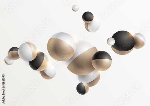 Gold and black 3D balls - 168610901