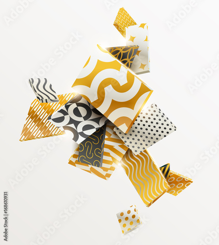 Obraz na płótnie Skład złota i czarnych prostokątów 3D. Streszczenie ilustracji wektorowych.