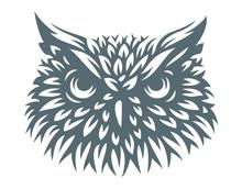 Owl Head - Vector Illustration. Icon Design On White Background
