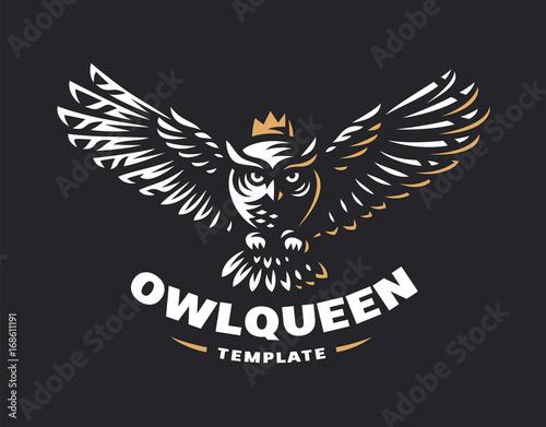 Photo Stands Owls cartoon Owl logo - vector illustration. Emblem design on black background