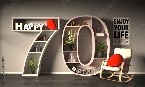 Fotografie, Obraz Happy Birhtday 70 Raum mit Spruch und Zahl