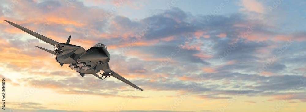 Fototapety, obrazy:  armed military fighter jet in flight on the sky background