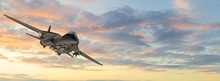 Armed Military Fighter Jet In Flight On The Sky Background