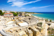 Historic site of an ancient Roman amphitheater in Tarragona, Spain