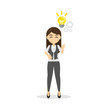 Businesswoman with light bulb.