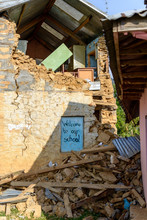 Damaged School In The Kathmand...