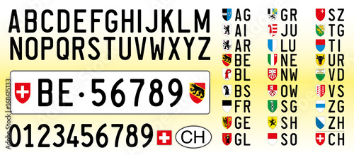 Fotografie, Tablou  Switzerland car plate, letters, numbers and symbols