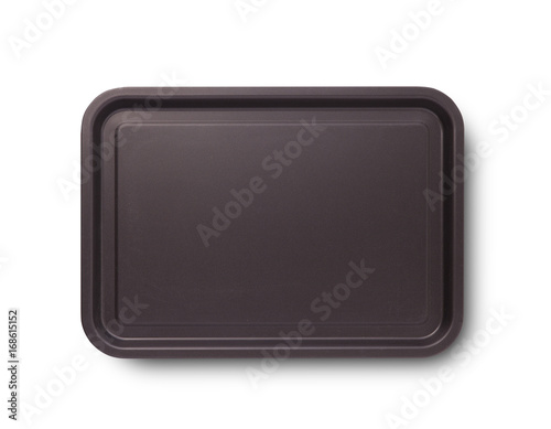 Empty baking tray with shadow for pizza close up top view isolated square. Mock up for design