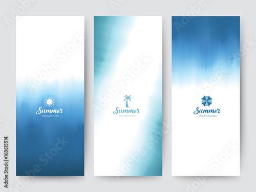 Fotografiet  Branding Packaging brush abstract background, logo banner voucher, watercolor Blue Sea fabric pattern