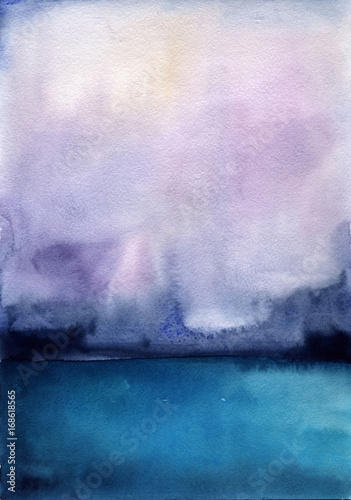 Tuinposter Purper Watercolor landscape sky clouds