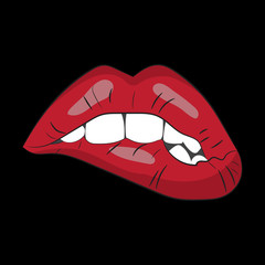 Vector image of red lips on a black background