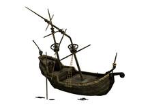 3D Rendering Ship Wreck On White