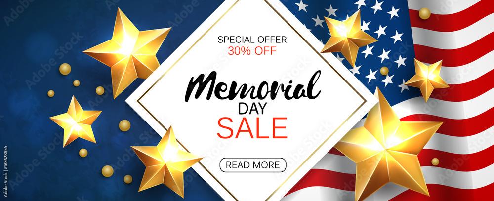 Fototapety, obrazy: Memorial day sale promotion advertising horizontal banner template. Vector illustration.