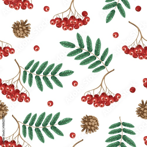 Cotton fabric Autumn seamless pattern with rowan leaves and berries.