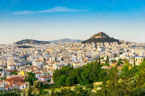 Zdjęcie XXL widok na miasto starych budynków w Atenach, Grecja