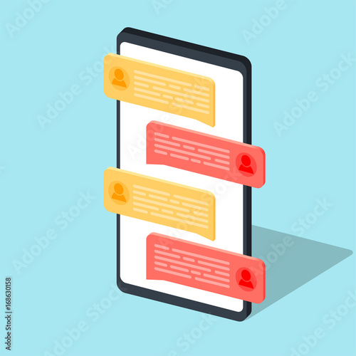 Fotografía  Chat message notifications on mobile phone vector illustration isolated, concept