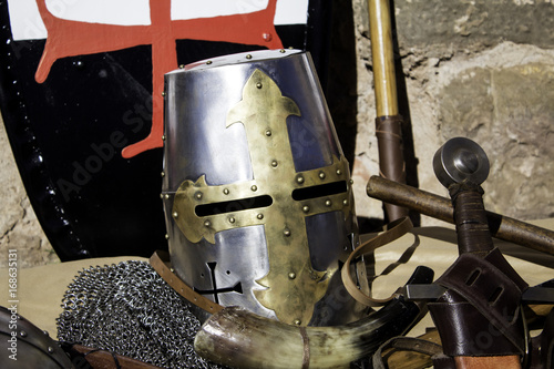 Photo Medieval armor helmet