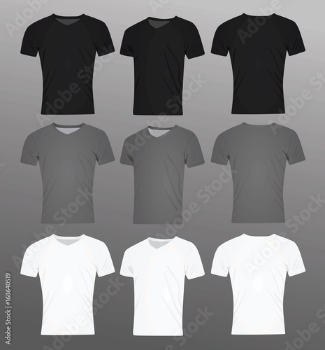 Men v neck t shirt. black, grey and white. template. vector ...