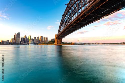 Canvas Prints Sydney Sydney skyline and harbor bridge during sunrise, New South Wales Australia