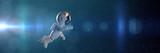 cute white cartoon astronaut flying in zero gravity space