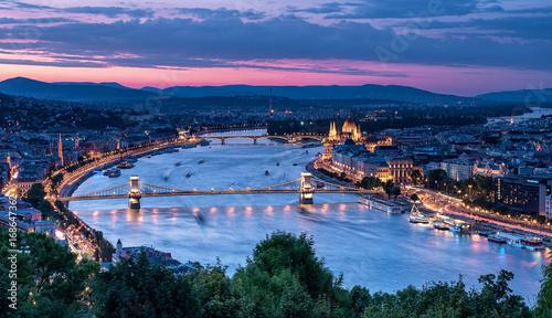 Aluminium Prints Budapest Sunset over Budapest in summer