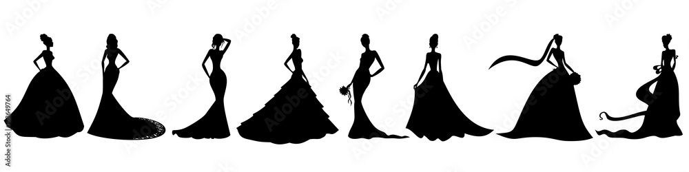 Fototapeta Silhouettes of brides