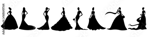 Silhouettes of brides Wallpaper Mural