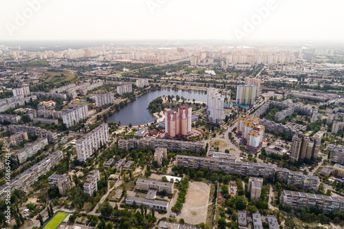 Foto op Aluminium Residential district in a large metropolis with road junctions and houses. Aerial view. From above.