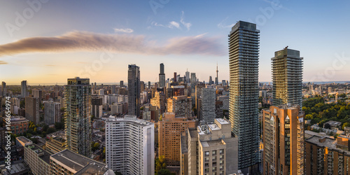 Panoramic View of Toronto City Downtown Skyline at Golden Hour