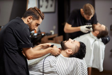 Man Stylish Client In Barbershop