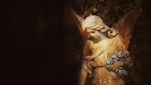 Gold Angel In The Sunlight (antique Statue)