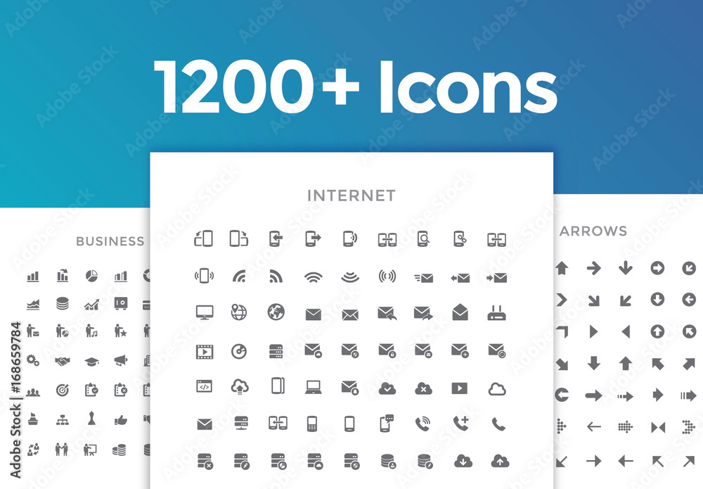 Fototapeta 1200 Line Art Icon Set 1