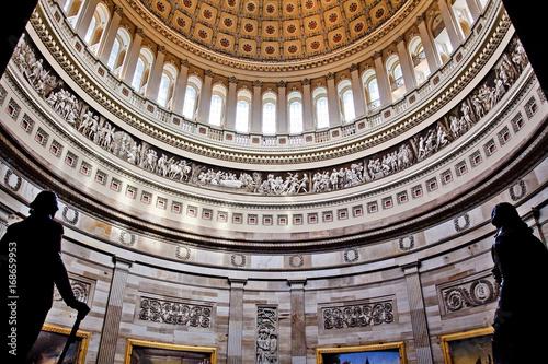 Stampa su Tela US Capitol Dome Rotunda Statues DC