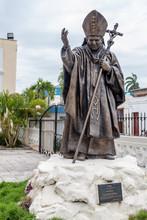 HOLGUIN,  CUBA - JAN 28, 2016: Statue Of Jean Paul II In Holguin.