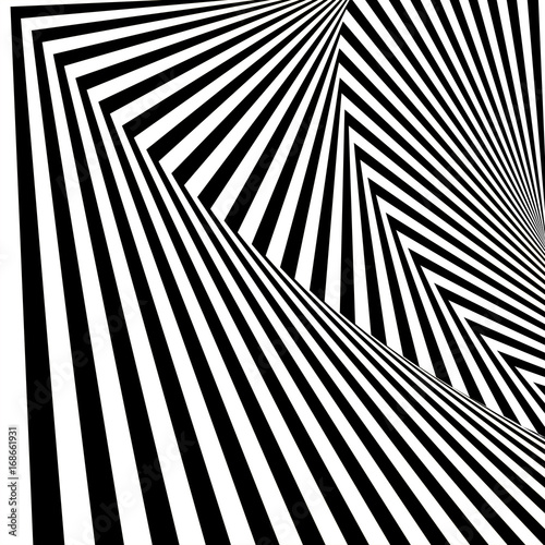 Spoed Foto op Canvas Psychedelic Geometric Pattern. Abstract Striped Background. Vector Illustration.