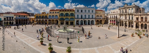 Recess Fitting Havana HAVANA, CUBA - FEB 23, 2016: Panorama of Plaza Vieja square in Havana Vieja